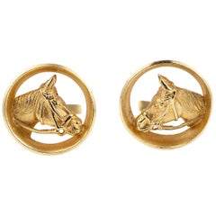 Piaget Cufflinks Gold Horses Head framed by a Winning Post, English circa 1970