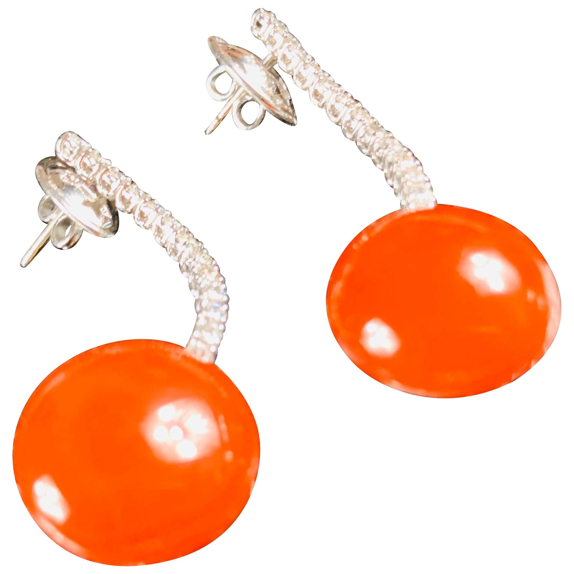 Pair of 18 Carat White Gold Drop Red Coral Diamond Earrings