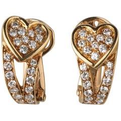 Pair of 18 Carat Yellow Gold and Diamond Boucheron Heart Ear Clips