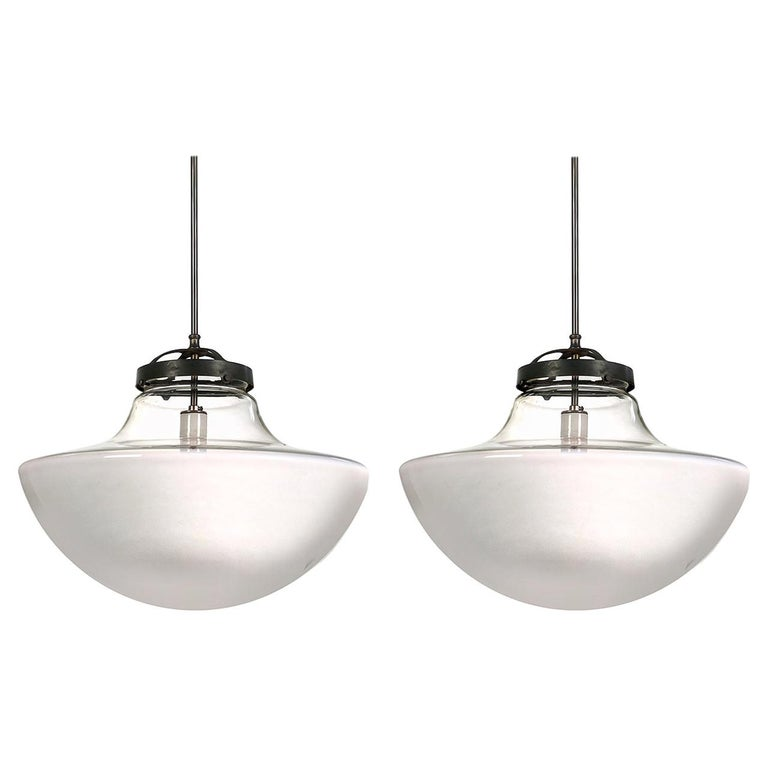 Pair of Mushroom Globes, Half Clear and White