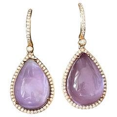 Pair of 18 K Rose Gold Earrings Diamonds Mother of Pearl Amethyst
