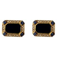 Pair of 18 K Yellow Gold Lapis Sapphire Diamond Enamel Cufflinks