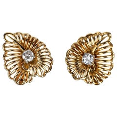 Pair of 18 Karat Gold and Diamond Earrings Cartier Paris, circa 1950
