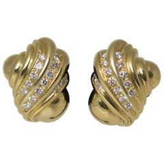 Pair of 18 Karat Gold and Diamond Shell Clip Earrings