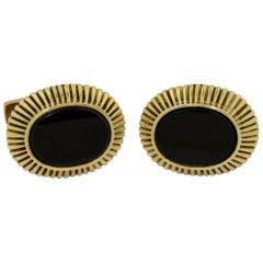 Pair of 18 Karat Gold and Onyx Cufflinks, Emis