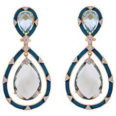 Pair of 18 Karat Gold Prasiolite Topaz Diamond Enamel Teardrop Earrings
