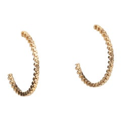 Pair of 18 Karat Gold Textured Hoops