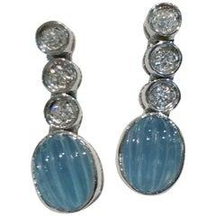 Pair of 18 Karat White Gold Aquamarine and Diamond Earrings