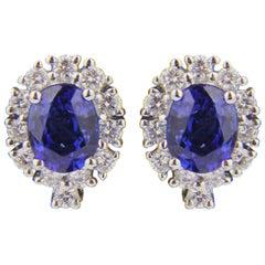 Pair of 18 Karat White Gold, Ceylon Sapphire and Diamond Earrings