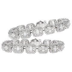 Pair of 18 Karat White Gold Illusion Diamond Bracelets