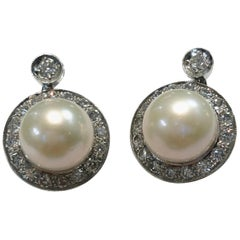 Pair of 18 Karat White Gold Pearl and Diamond Earrings
