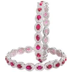 Pair of 18 Karat White Gold Ruby Diamond Bangle Bracelets