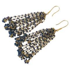 Pair of 18-Karat Yellow Gold and Blue Sapphire Chandelier Tassel Earrings