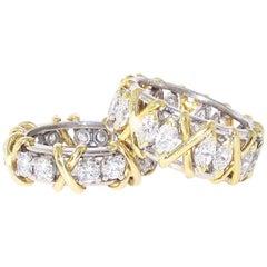 Pair of 18 Karat Yellow Gold and Platinum Diamond Band, Approximate 4.04 Carat