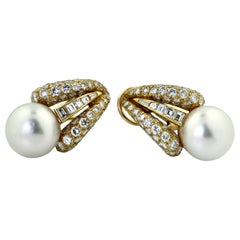Pair of 18 Karat Yellow Gold, Cultured Pearl and Diamond Earclips, Emis