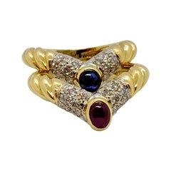 Pair of 18 Karat Yellow Gold, Diamond Ruby and Sapphire Nesting Rings