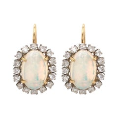 Pair of 18 Karat Yellow Gold, Opal and Diamond Earrings