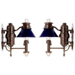 Pair of 1800s Dayton Railroad Dining Car Sconces