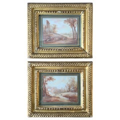 Pair of 1800s Water Colors of French Pastoral Scenes Attributed to J.B. Huet