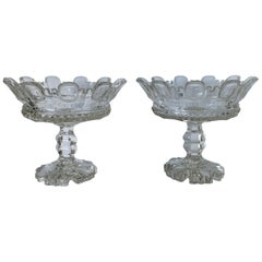 Pair of 1820s Cut Crystal Mantle Vases