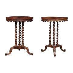Pair of 1820s English Regency Rosewood Guéridon Tables with Barley Twist Bases