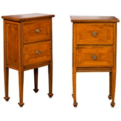 Pair of 1820s Italian Neoclassical Carved Walnut Bedside Tables with Banding
