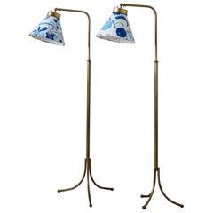 Pair of 1842 Brass Floor Lamps Designed by Josef Frank for Svenskt Tenn