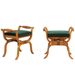 Pair of 1850s Austrian Biedermeier X-Form Stools with Green Upholstered Seats