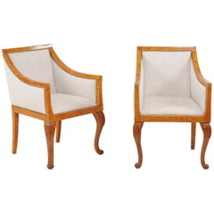 Pair of 1850s Biedermeier Austrian Burled Wood Bergères with New Upholstery
