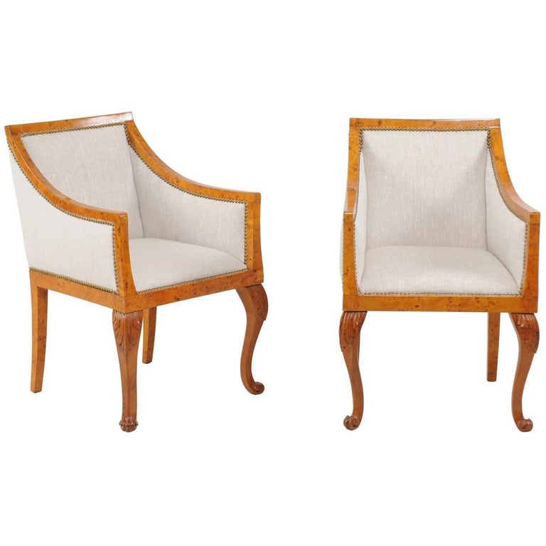 Pair of 1850s Biedermeier Austrian Burled Wood Bergères with New Upholstery For Sale
