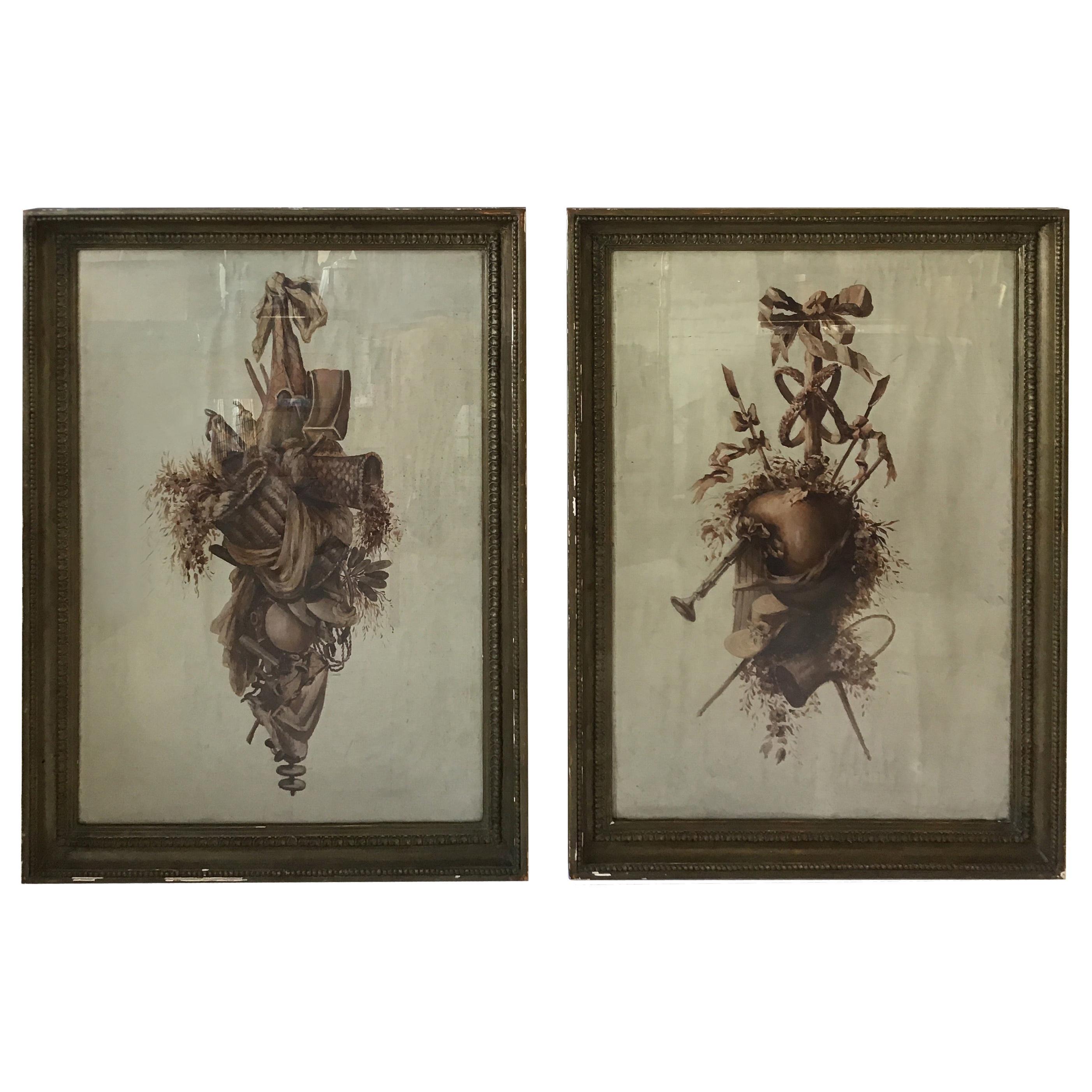 Pair of 1860s Louis XVI Watercolors Symbolizing the Garden Arts