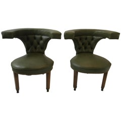 Pair of 1870s English Cock Fighting Chairs in Green Leather