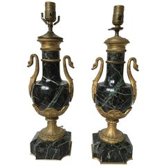 Pair of 1870s French Empire Green Marble and Bronze Lamps with Ormolu Swans