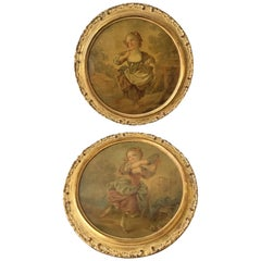 Pair of 1870s Oil Paintings of French Girls