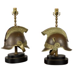 Pair of 1880s Brass Legionary Helmets Mounted as Table Lamps on Bases