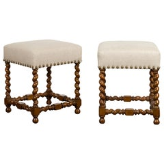 Pair of 1880s English Oak Barley Twist Stools with Stretchers and New Upholstery