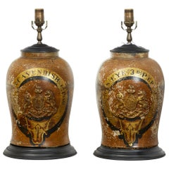 Pair of 1880s English Stoneware with Coat of Arms Made into Wired Table Lamps
