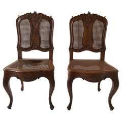 Pair of 1880s French Provincial Hand Carved Side Chairs