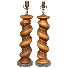 Pair of 1880s Italian Baroque Style Solomonic Columns Made into Table Lamps