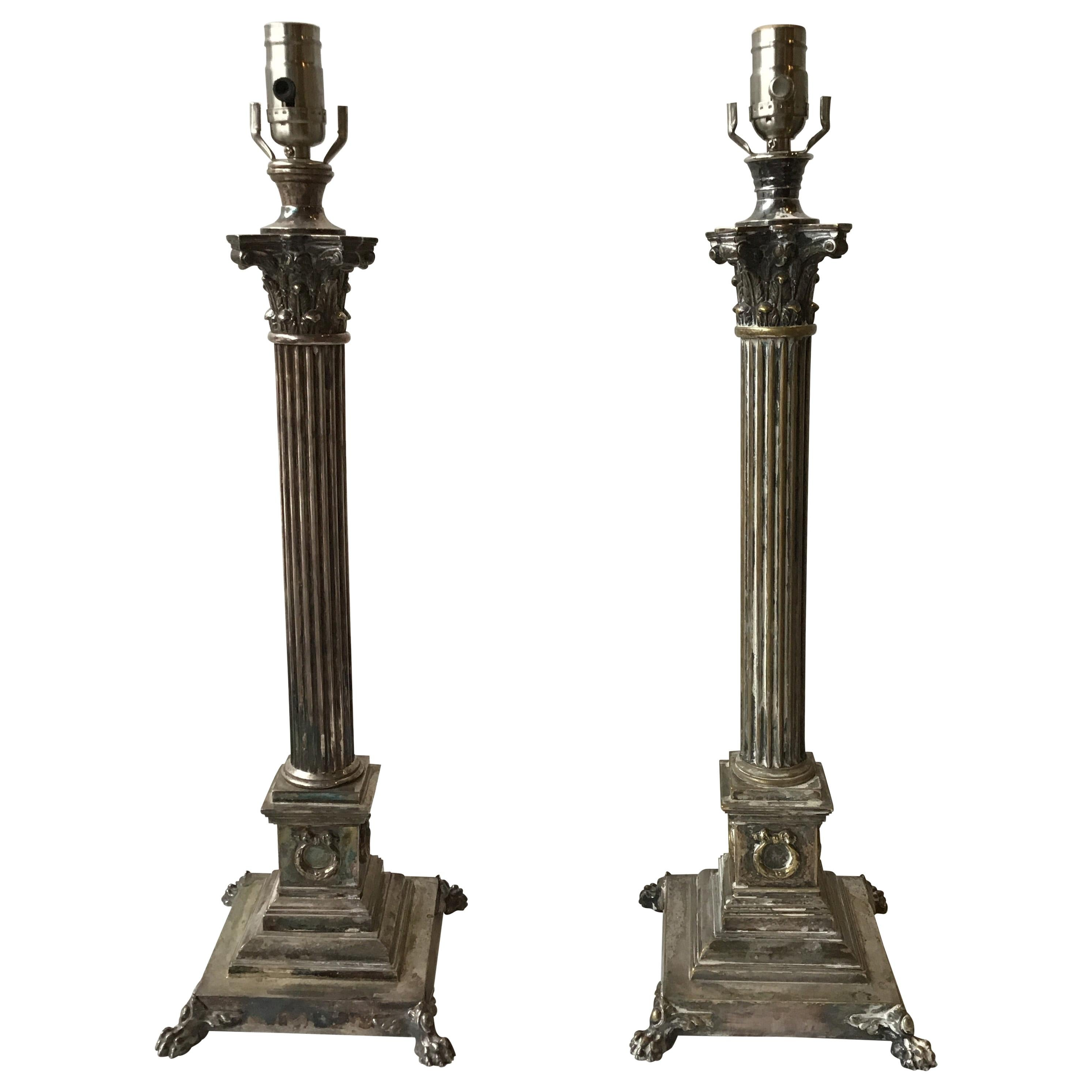 Pair of 1880s Tall Silver Plate Column Lamps