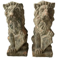 Pair of 1890s French Terracotta Lions