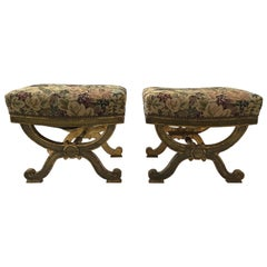 Pair of 1890s Italian Classical Giltwood Benches