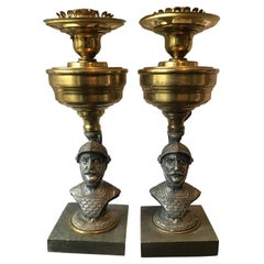 Pair of 1890s Knight Lamps on Stone Bases