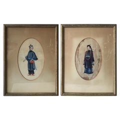 Pair of 1890s Paintings of Asian Figures