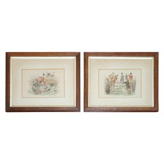 Pair of 1894 Watercolour Paintings by H Brock Univited Guest, a Lion in the Path