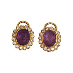 Pair of 18k Yellow Gold Diamond and Amethyst Earring