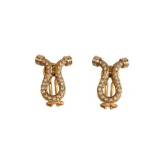 Pair of 18k Yellow Gold Diamond Omega Shaped Earrings