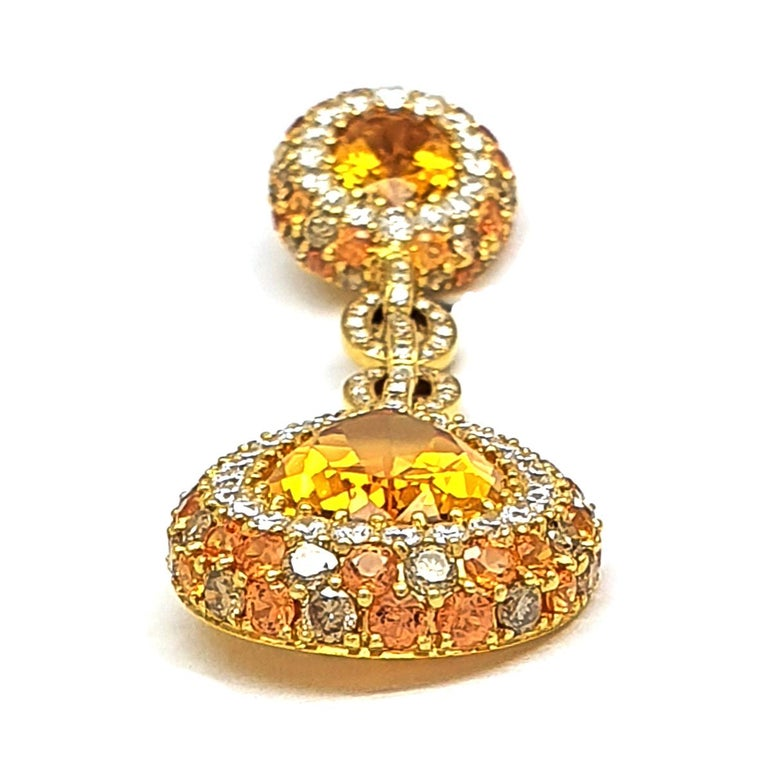 Classical Roman Pair of 18K Yellow Gold Earrings 'Pendant' 20.96 Ct Citrine Corunds and Diamonds For Sale