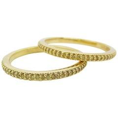 Pair of 18 Karat Yellow Gold Natural Fancy Yellow Diamond Bands New Old Stock