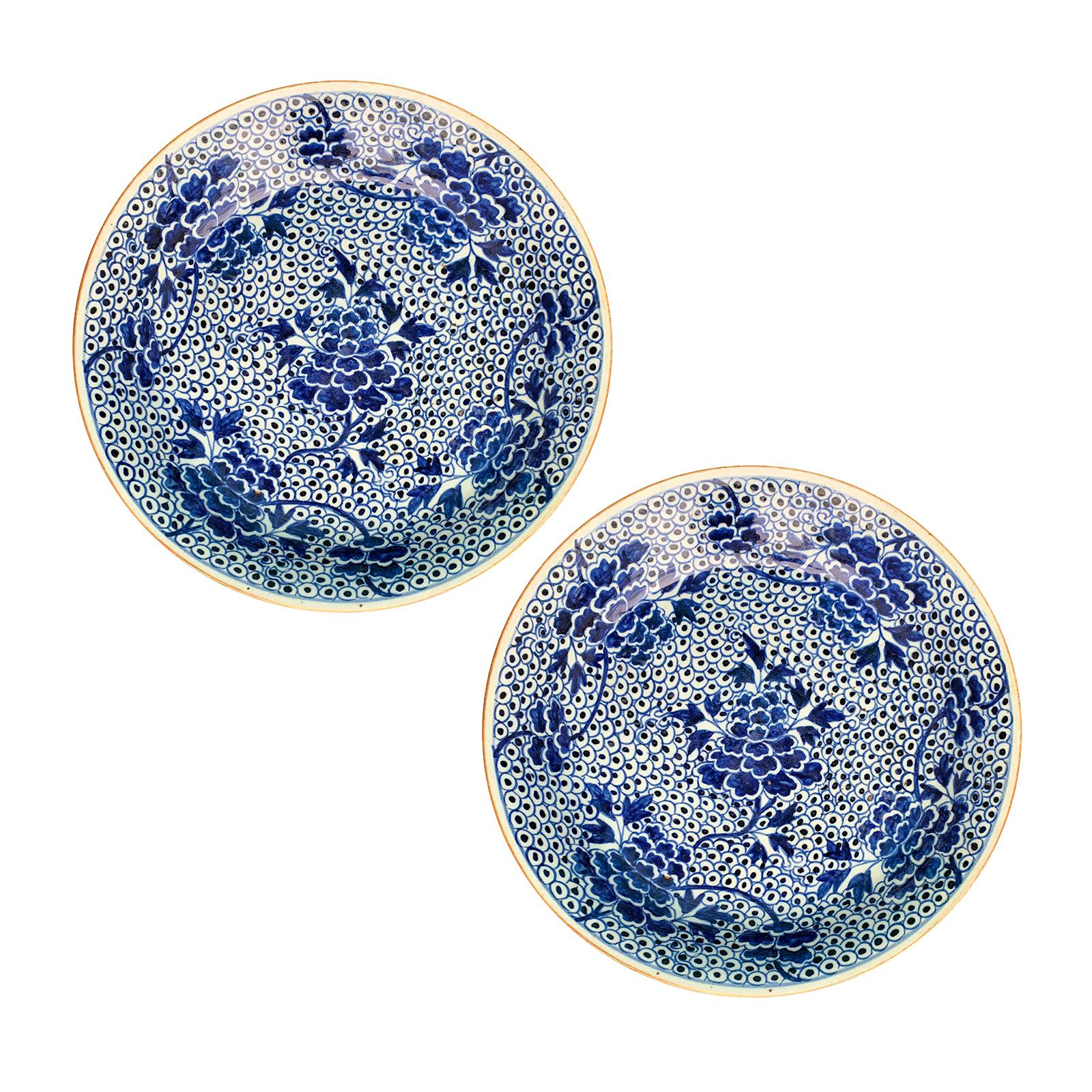 Pair of 18th-19th Century Chinese Blue and White Porcelain Chargers, Unmarked